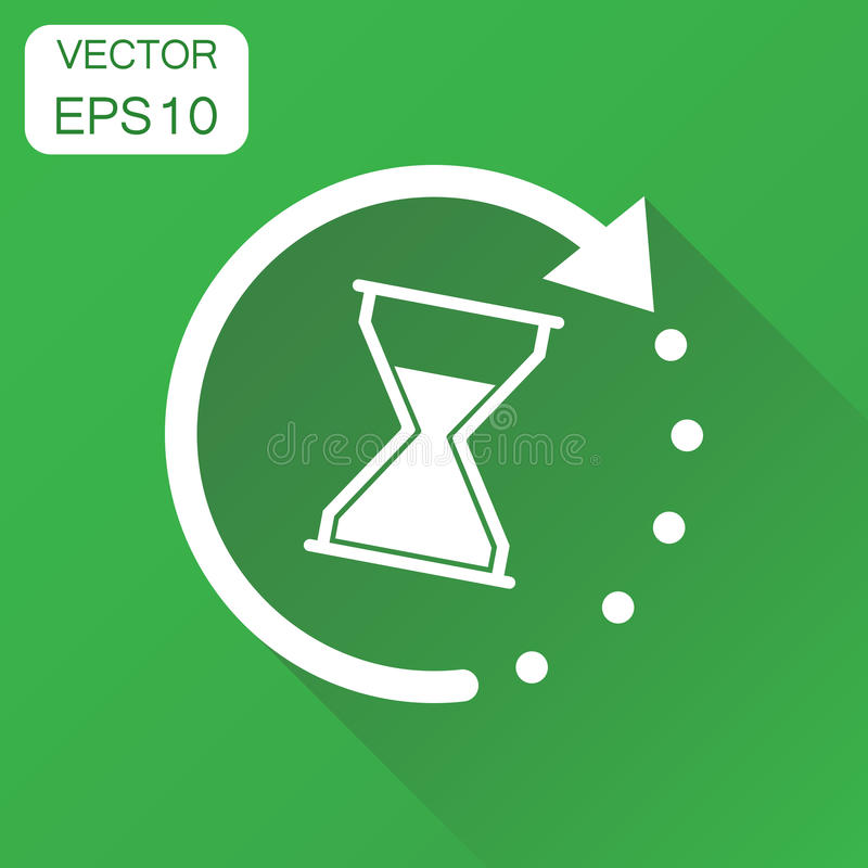 Time sandglass icon. Business concept clock hourglass pictogram. Vector illustration on green background with long shadow stock illustration