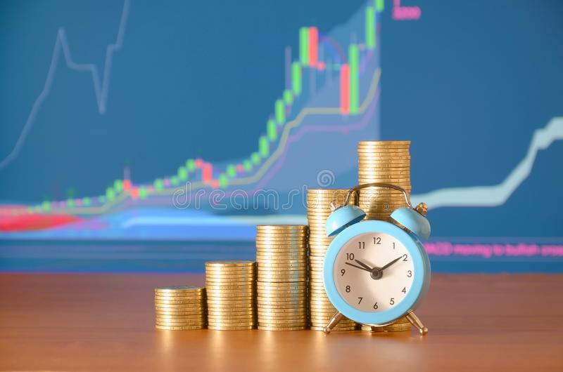 Time for savings money concept, banking and business idea. Alarm clock and Money coin stacks in grow graph. Finance sustainable development and economic growth royalty free stock photo