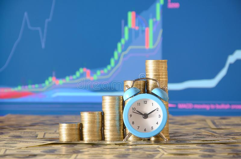 Time for savings money concept, banking and business idea. Alarm clock and Money coin stacks in grow graph. Finance sustainable development and economic growth stock images