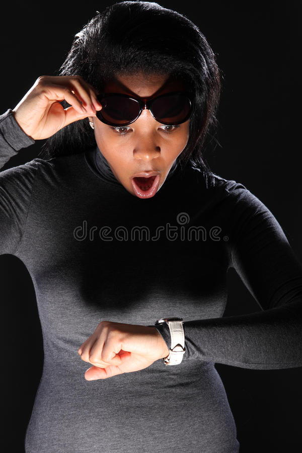 Download Time Scare For Beautiful Young Black Girl Royalty Free Stock Image - Image: 18345876