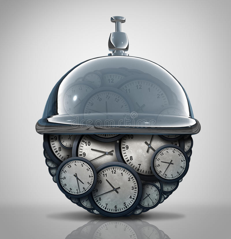 Time Service Concept. As a group of clock objects with a hospitality service bell as a business schedule metaphor as a 3D illustration royalty free illustration