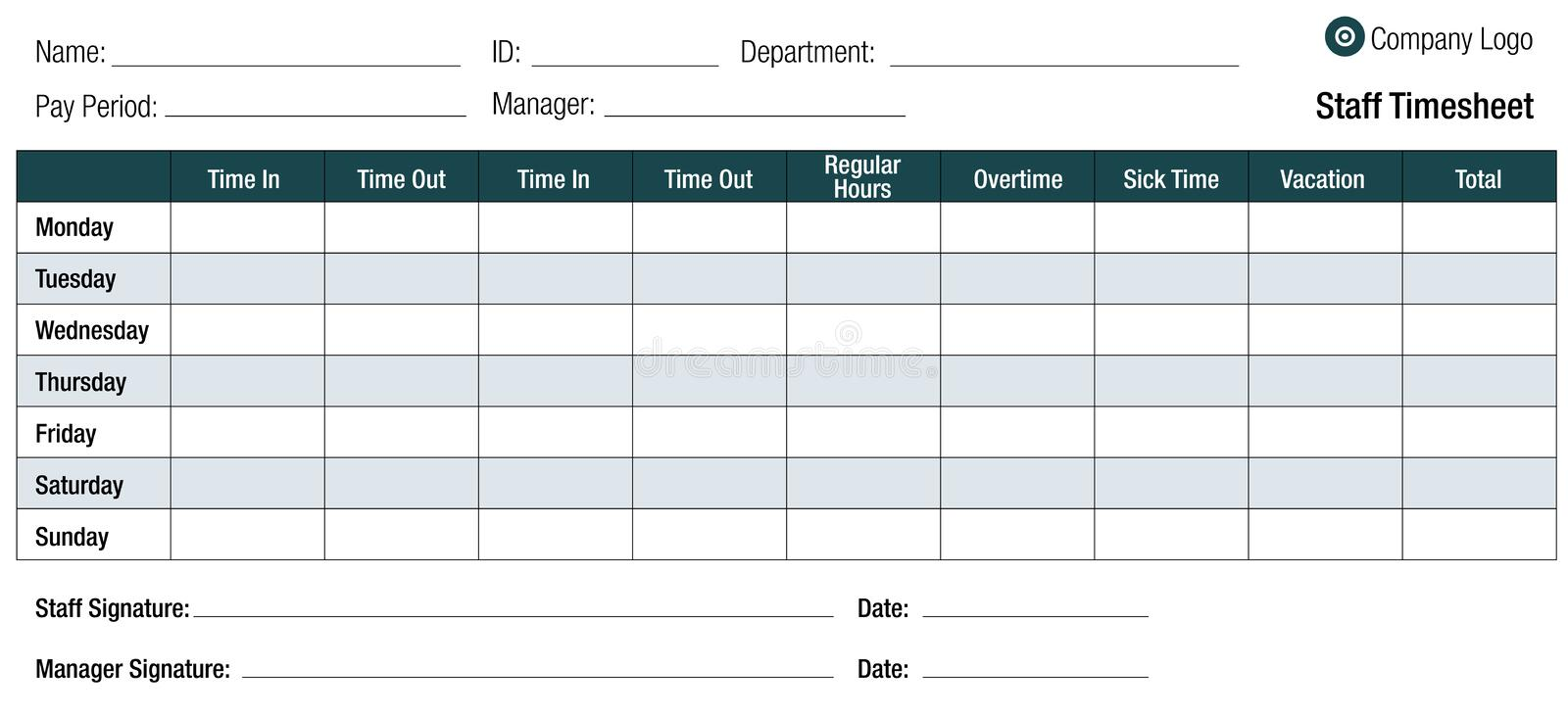 Time Sheet Template Table For Employees. An image of a employee time sheet template table for staff royalty free illustration