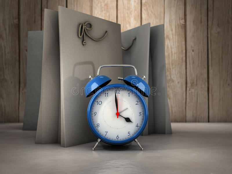 Time for shopping. Alarm clock and shopping bags stock illustration