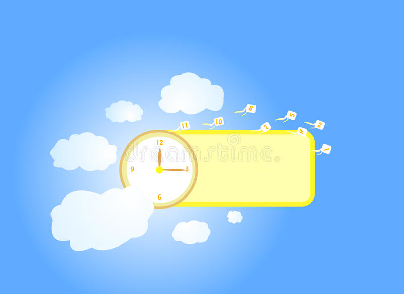 Time and sky note stock image