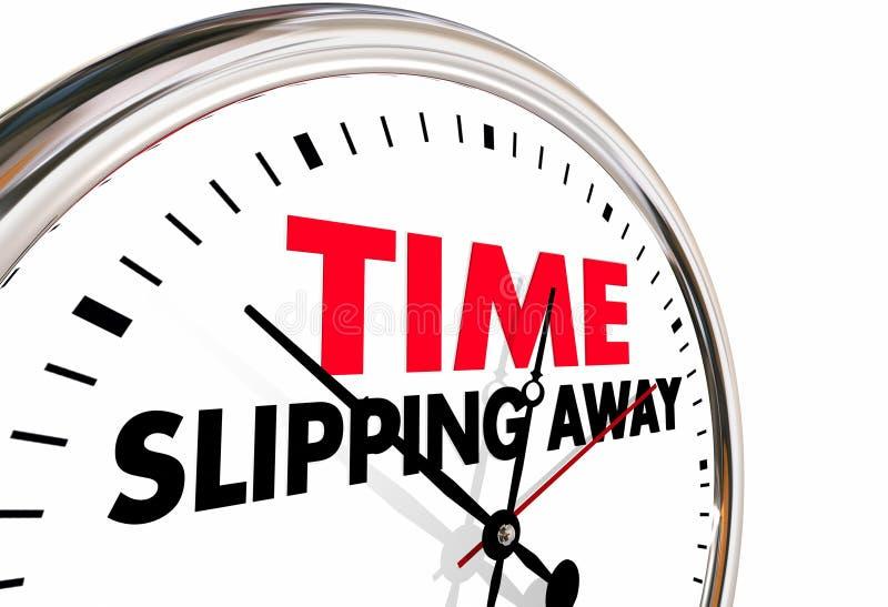 Time Slipping Away Passing Clock Words. 3d Illustration vector illustration