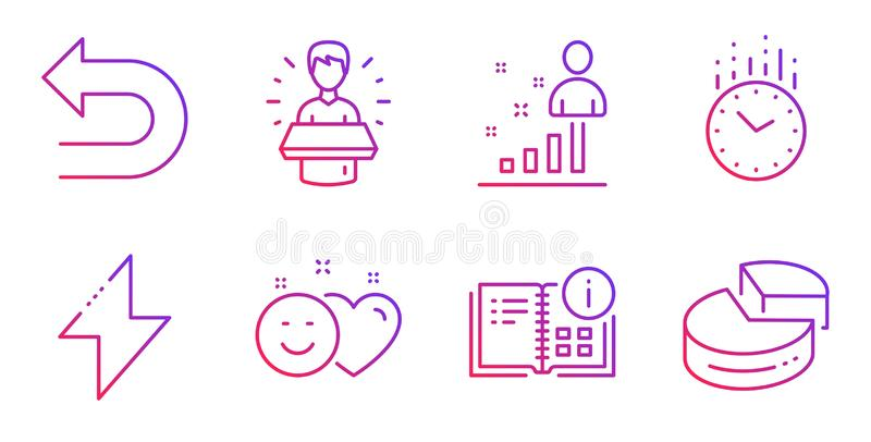 Time, Smile and Brand ambassador icons set. Energy, Undo and Instruction info signs. Stats, Pie chart symbols. Vector. Time, Smile and Brand ambassador line royalty free illustration