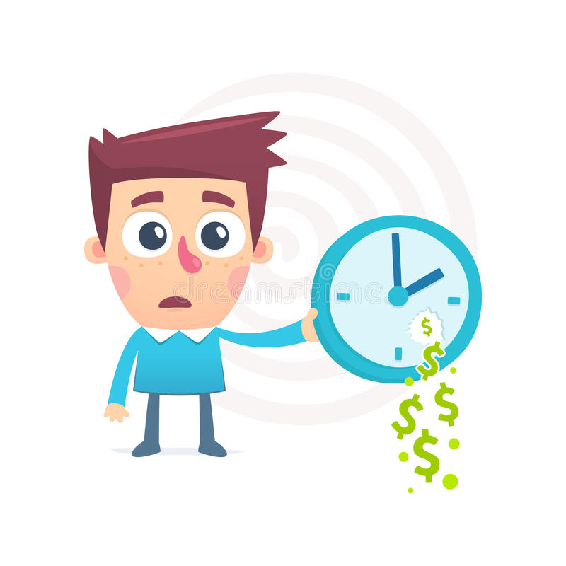 Time spent money. Cartoon conceptual illustration of funny character royalty free illustration