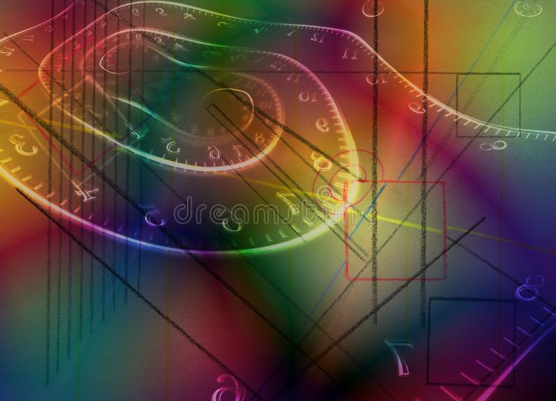 Time spirals. Colorful abstraction. Time spirals and geometric figures. 3D rendering royalty free stock photography