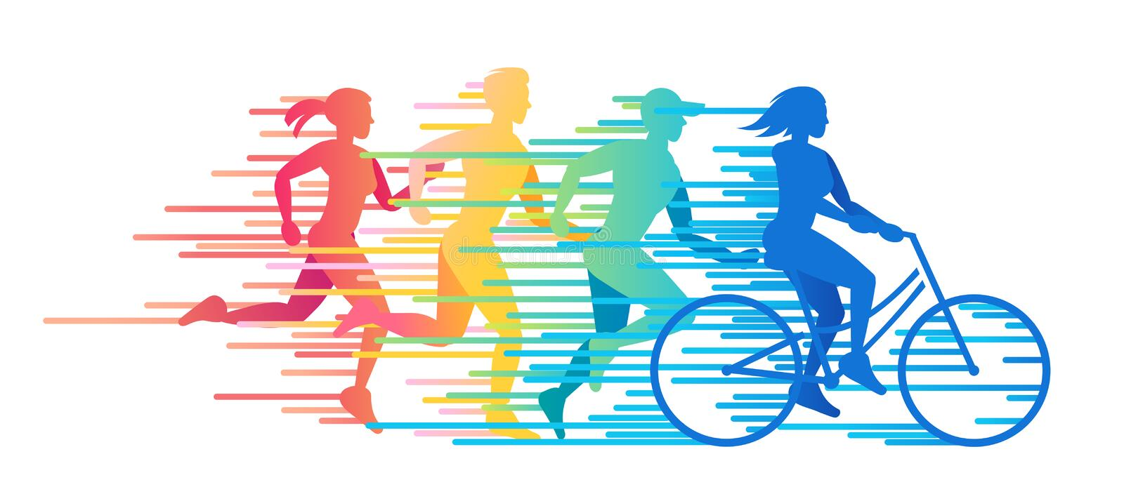 Time for Sports. Group of people involved in sports. Time for sports vector color illustration stock illustration
