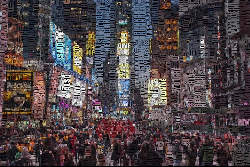 Time square. Abstract composition. Time square. Image composed entirely of text, words stock images
