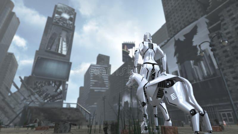Time Square apocalíptico Nueva York Manhattan con el robot y el perro de la ciencia ficción representación 3d ilustración del vector
