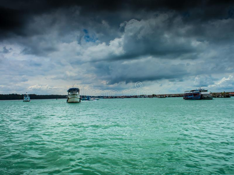 At the time of the storm over the sea. stock photography