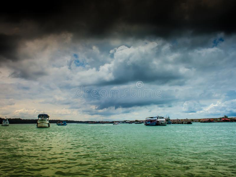 At the time of the storm over the sea. stock photo