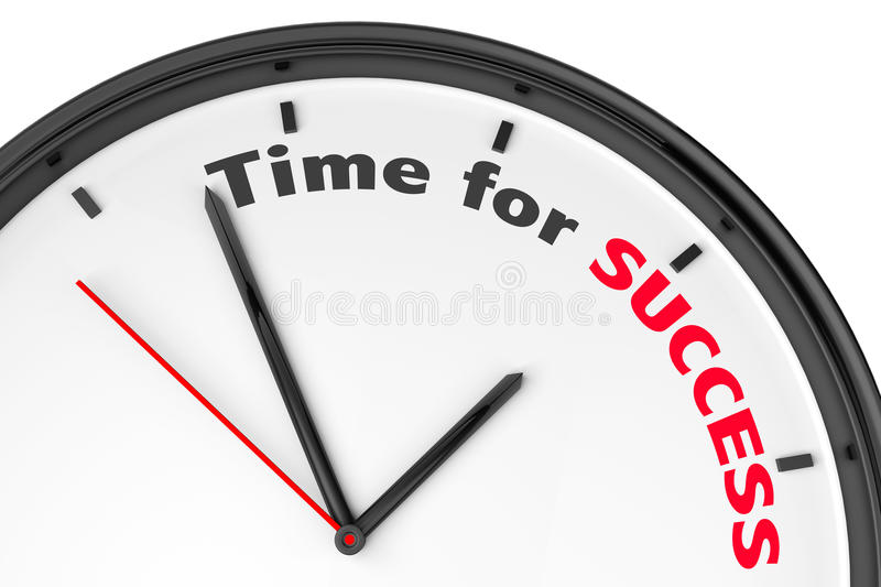 Time for Success concept. Modern clock with sign on a white background royalty free illustration