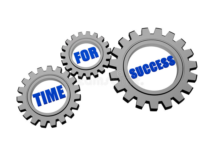 Time for success in silver grey gears vector illustration
