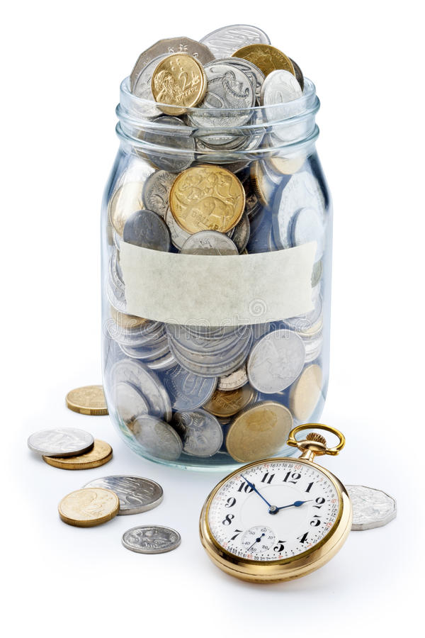 Time Money Superannuation Coin Jar stock photo