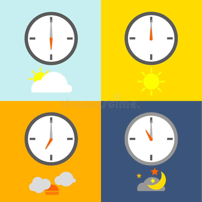 TIME TABLE. Clocks show 4 times for people routine and the sky icon show indicate the time as usual royalty free illustration