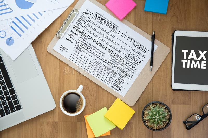 Time for Taxes Planning Money Financial Accounting Taxation Businessman Tax Economy Refund Money royalty free stock photo