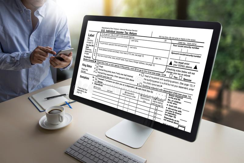 Time for Taxes Planning Money Financial Accounting Taxation Businessman Tax Economy Refund Money royalty free stock photos