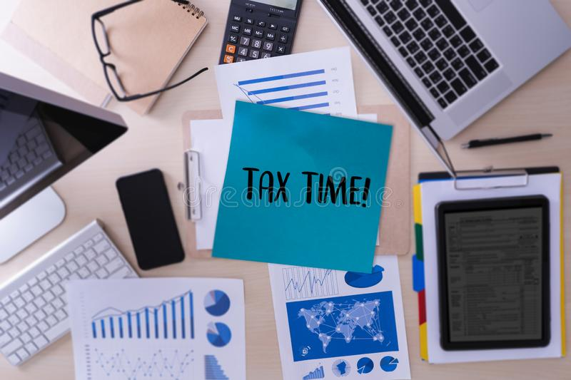 Time for Taxes Planning Money Financial Accounting Taxation Businessman Tax Economy Refund Money royalty free stock photography