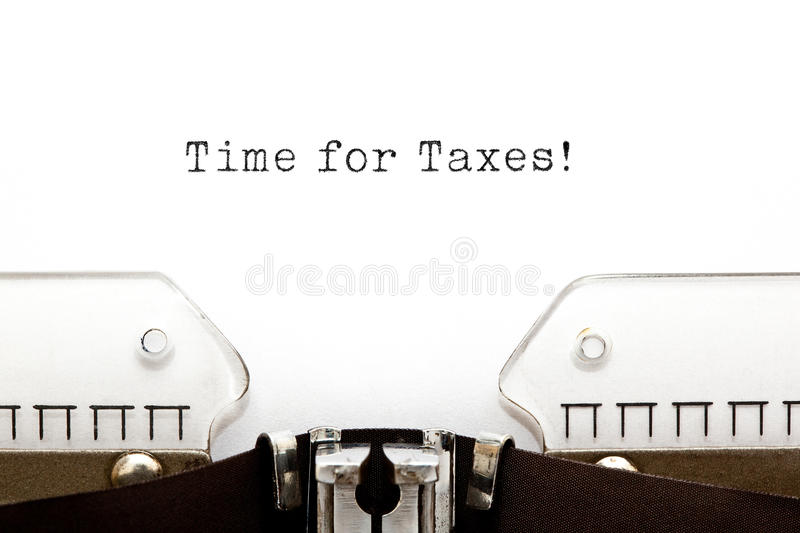 Time for Taxes Typewriter. Time for Taxes printed on an old typewriter royalty free stock image