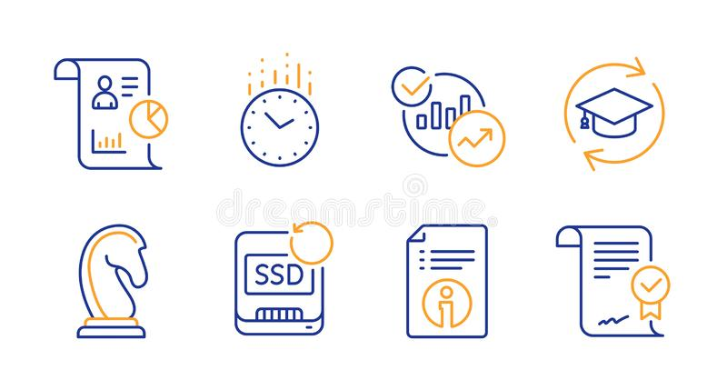 Time, Technical info and Report icons set. Marketing strategy, Continuing education and Statistics signs. Vector. Time, Technical info and Report line icons set royalty free illustration