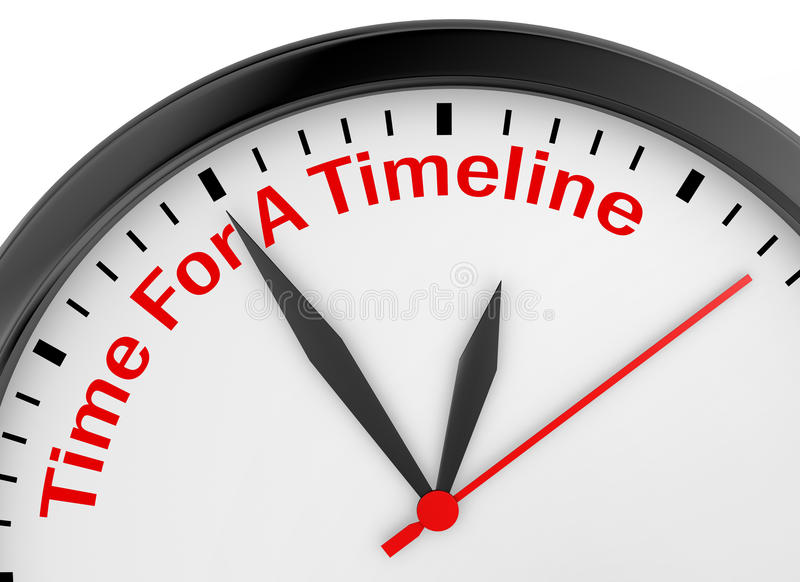 Time for a timeline. Conceptual message on clock, 3d rendering royalty free stock photography