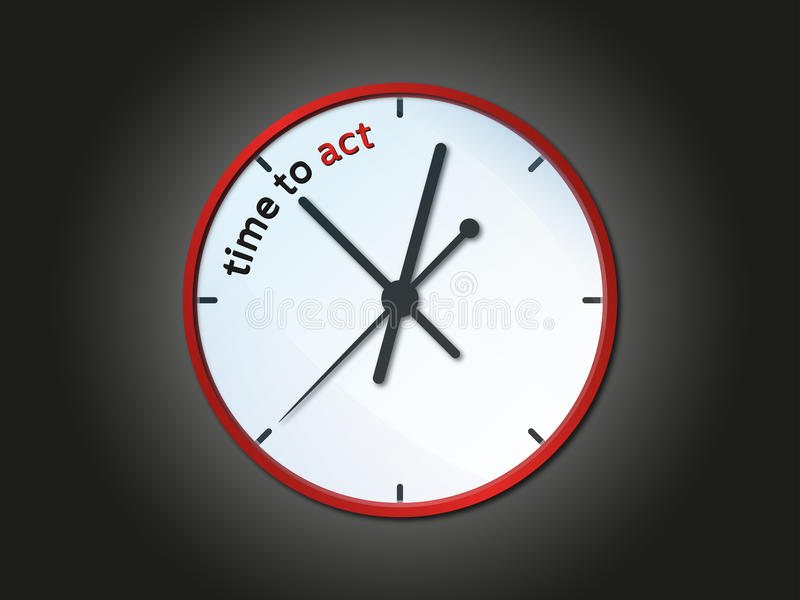 Time to act clock stock illustration