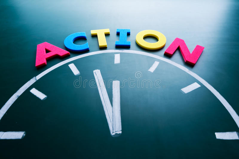 Time to action concept stock image