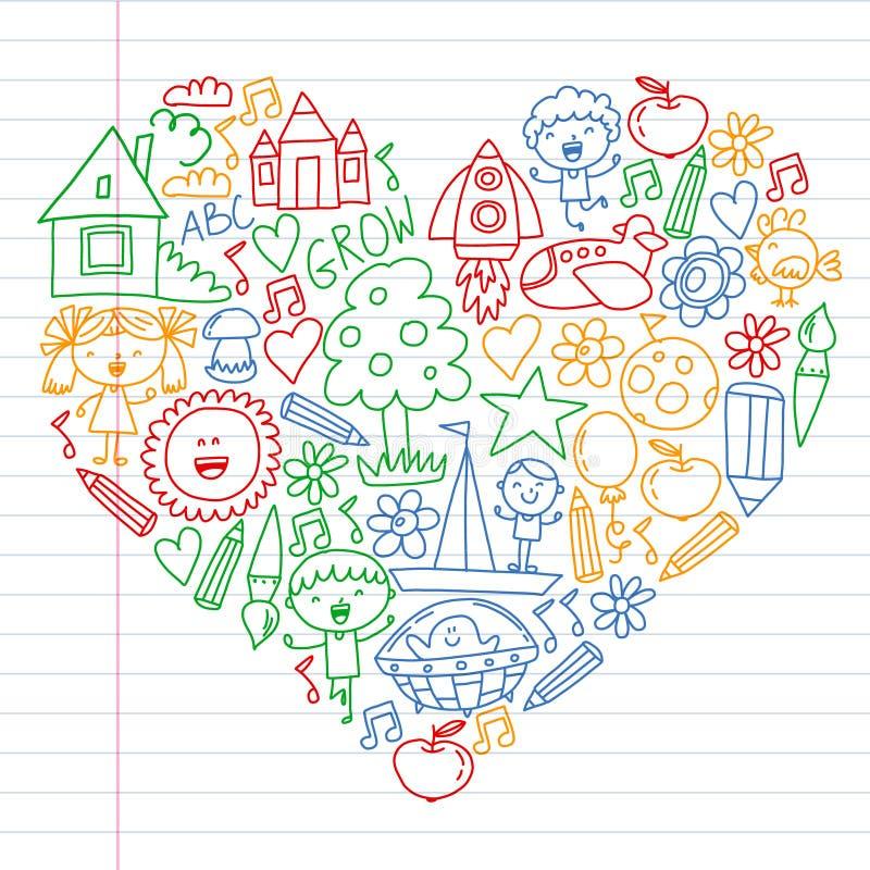 Free Time To Adventure. Imagination Creativity Small Children Play Nursery Kindergarten Preschool School Kids Drawing Doodle Stock Images - 156230034