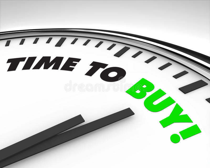 Time to Buy - Clock. White clock with words Time to Buy on its face