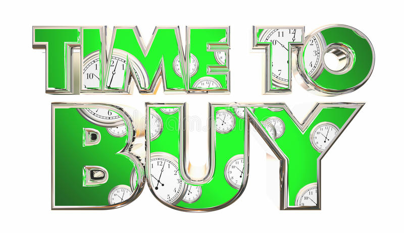 Time to Buy Clocks Customer Purchase Words. 3d Illustration royalty free illustration
