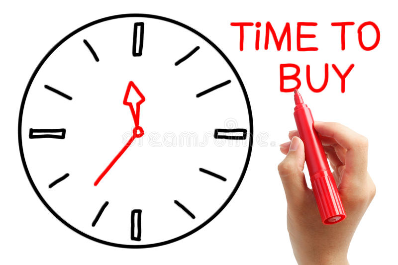 Time to Buy. Writing Time to Buy concept with red marker on transparent wipe board royalty free stock photos