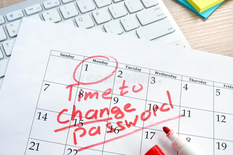 Time to change password. Password management. stock image