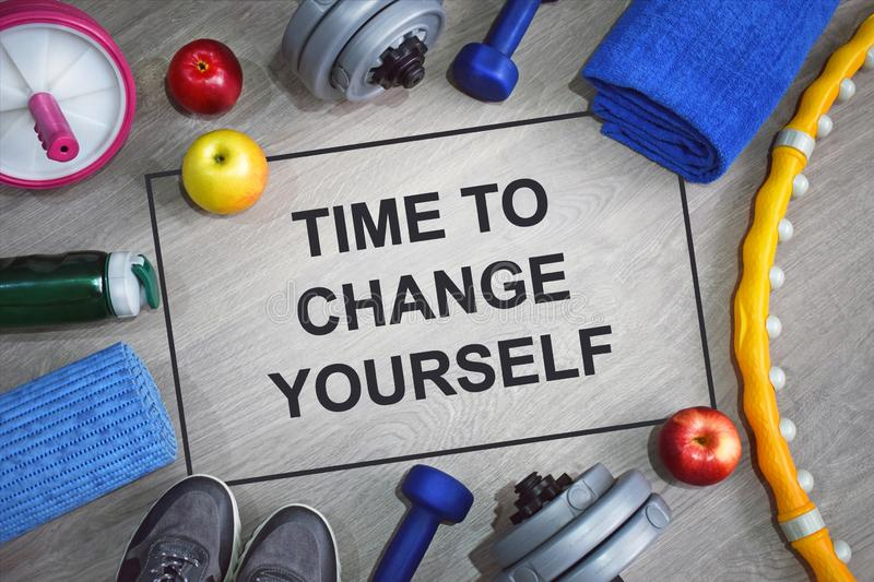 Time to change yourself. Fitness motivational quotes. royalty free stock photos