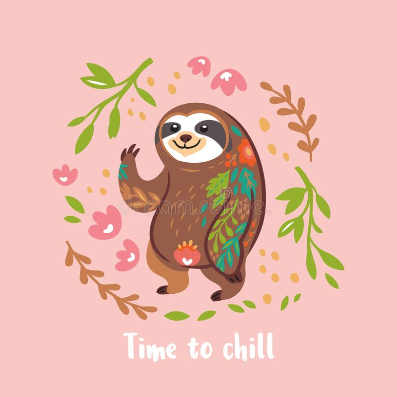 Time to chill. Cute vector sloth bear animal character. Vector illustration. Time to chill. Lazy sloth character. Decorative cartoon animal illustration in royalty free illustration