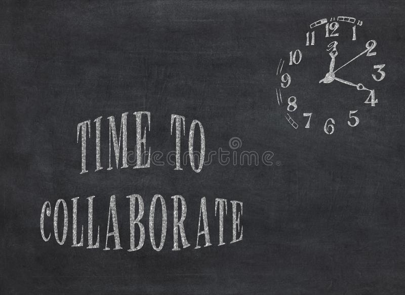 Time to Collaborate - clock with text on black background. To mean a concept stock illustration