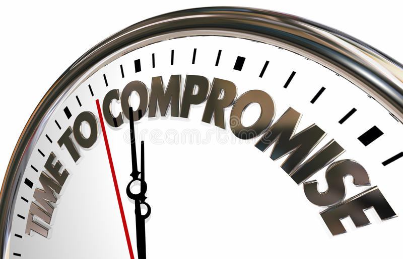 Time to Compromise Clock Negotiate Words. 3d Illustration royalty free illustration