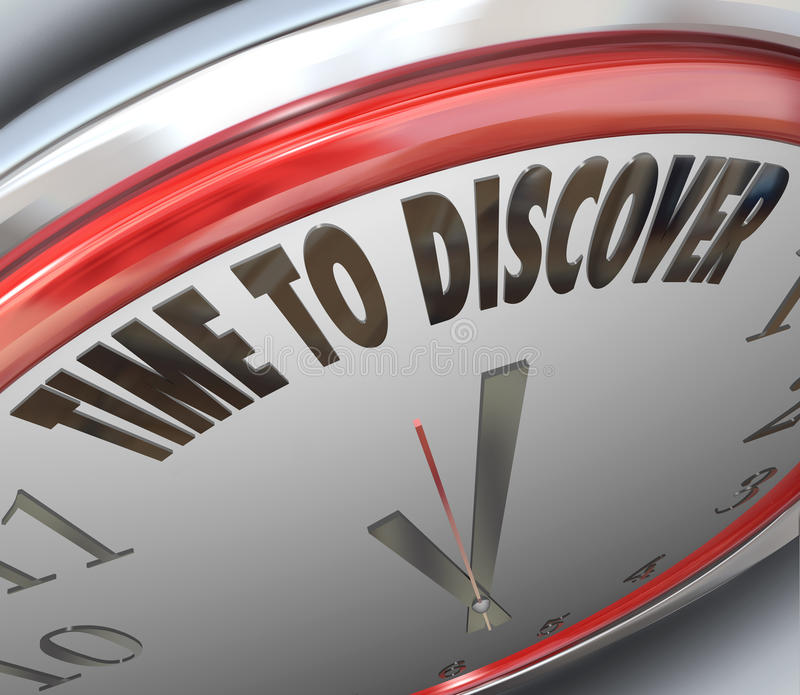 Time to Discover Words on Clock Scientific Research. The words Time to Discover on a clock to symbolize research and scientific innovation and invention royalty free illustration
