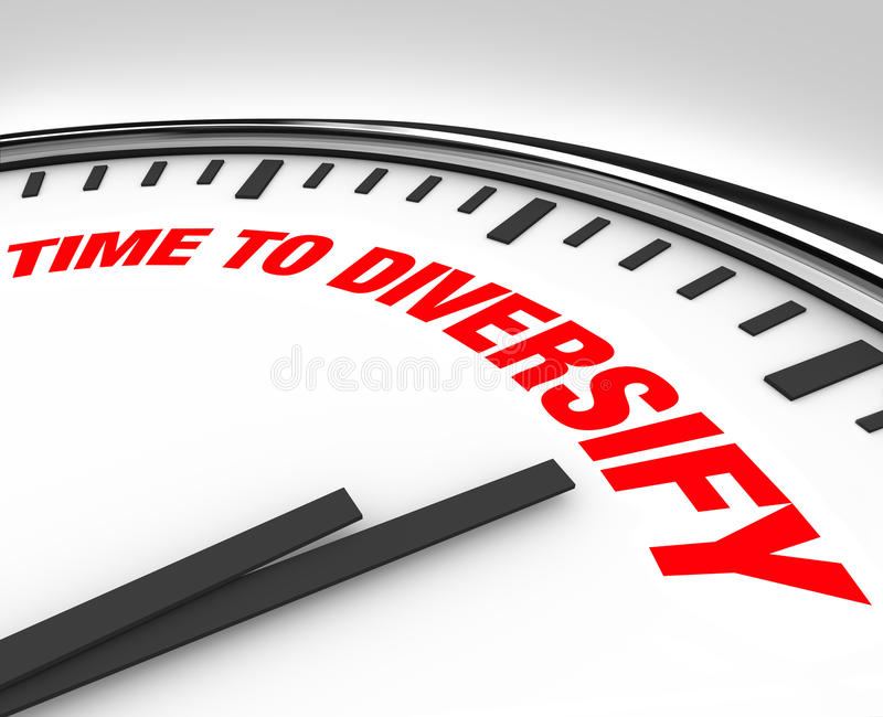 Time to Diversify Clock Manage Investment Risk. Spread your investments and manage your risk by diversifying your portfolio, following the advice of this clock royalty free illustration