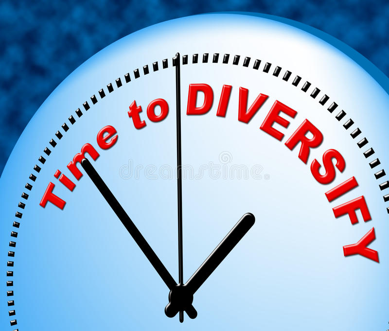 Time To Diversify Indicates At The Moment And Currently. Time To Diversify Representing Just Now And Spread vector illustration