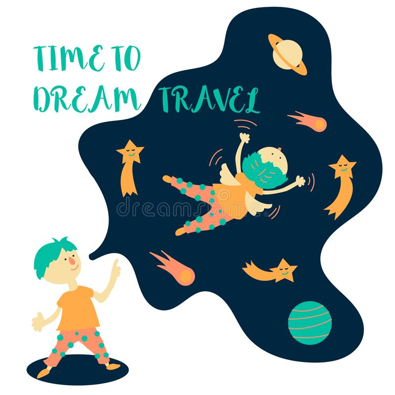 Time to dream travel. A boy in a dream dreams of traveling in space. vector illustration