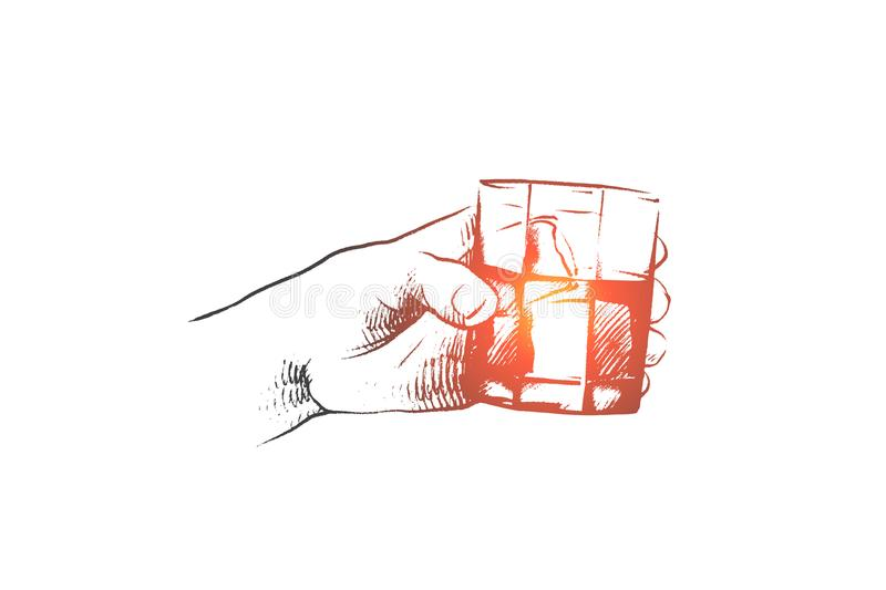 Time to drink concept. Hand drawn isolated vector. vector illustration