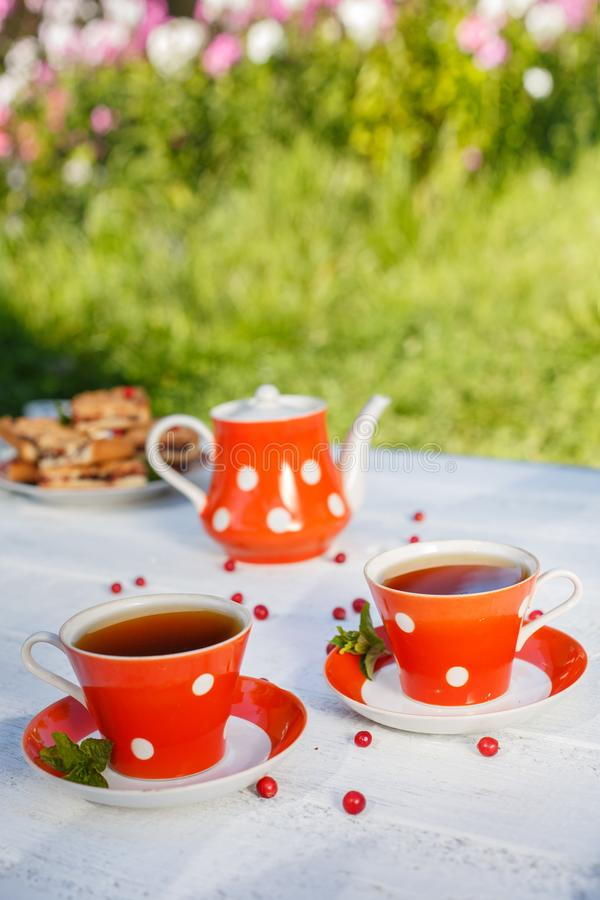 Time to drink tea outdoors in the garden. Summertime scene.  stock images