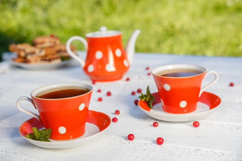 Time to drink tea outdoors in the garden. Summertime scene.  royalty free stock images