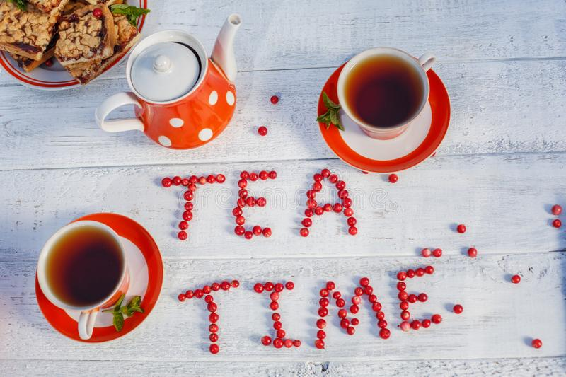 Time to drink tea outdoors in the garden. Summertime scene.  royalty free stock photos