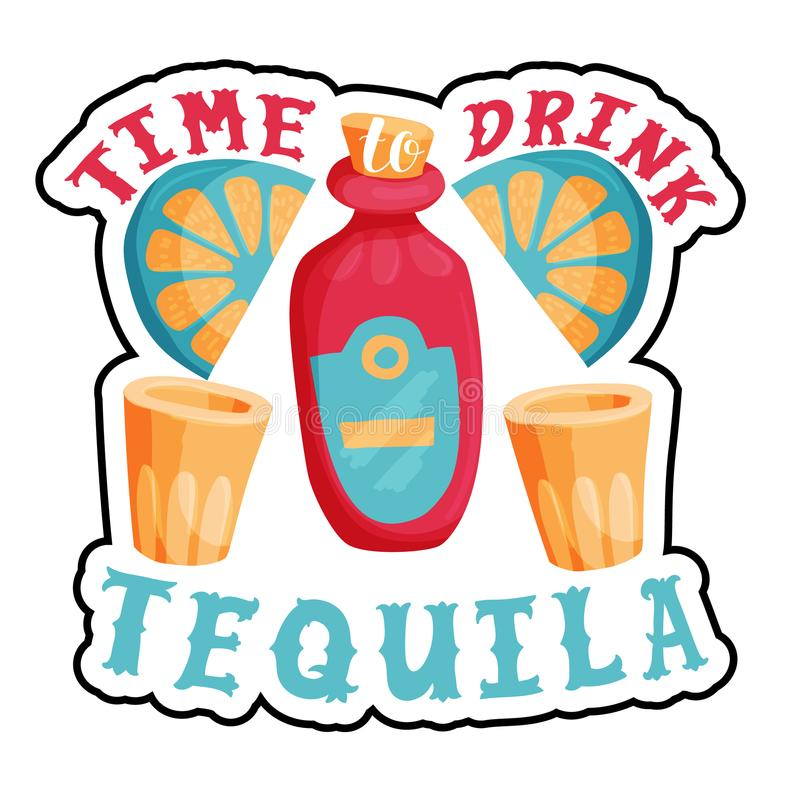 Time to drink tequila bar poster royalty free illustration