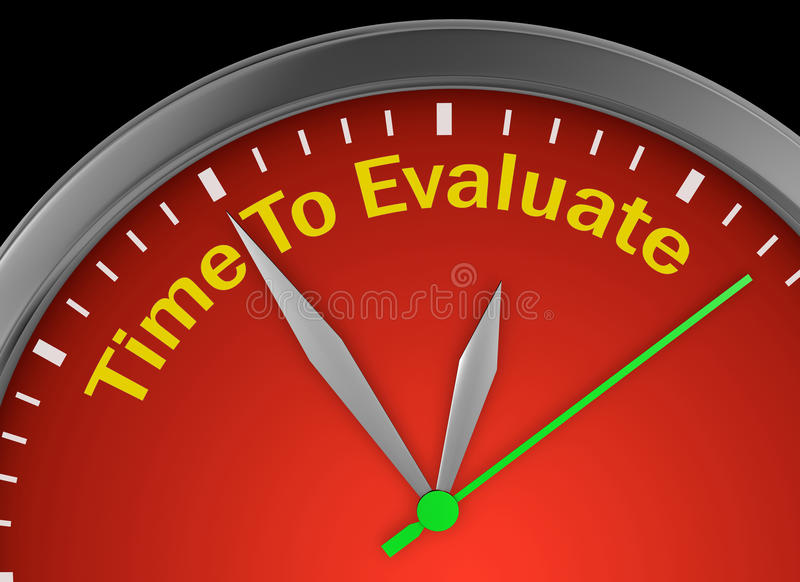 Time to evaluate. Word on concept clock, 3d rendering royalty free illustration