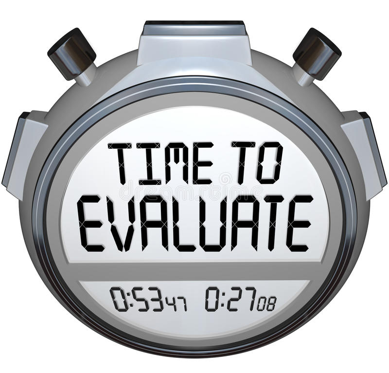 Time to Evaluate Words Stopwatch Timer Evaluation stock illustration
