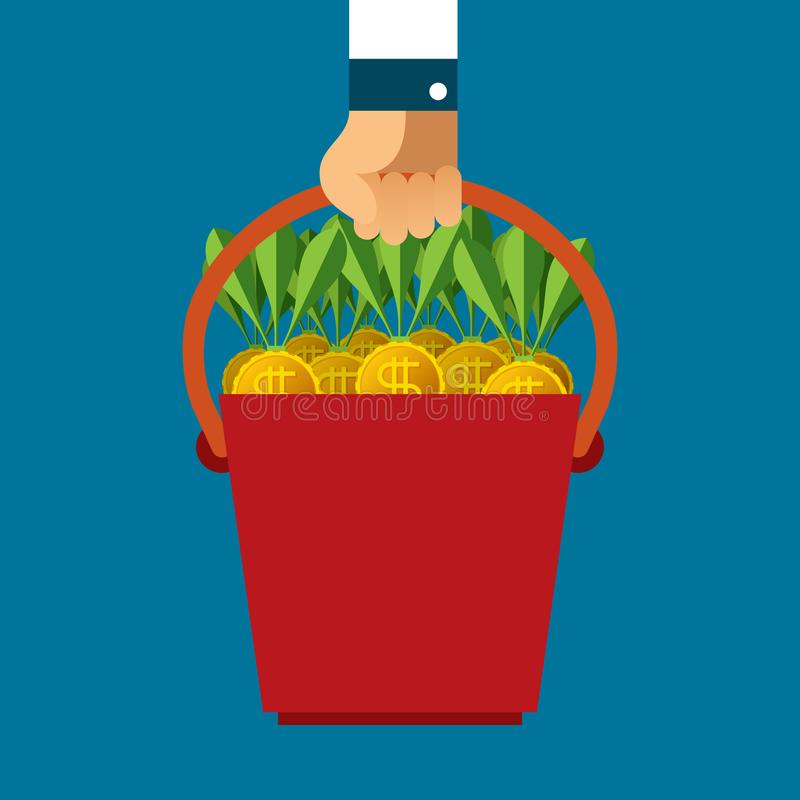 Time to gather profit vector concept in flat style.  royalty free illustration